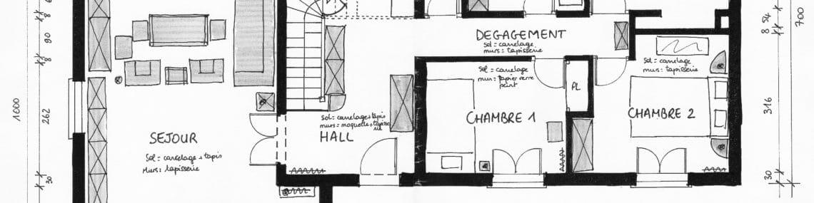 Projet d'extension d'une cuisine et aménagement d'une piece de vie et une entree