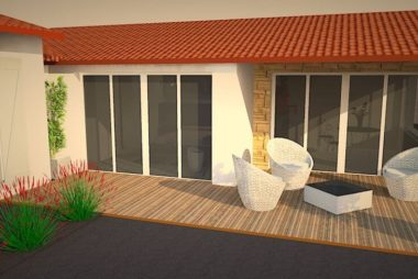 Perspective 3D extension & terrasse