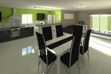 Rendu 3D du séjour et cuisine
