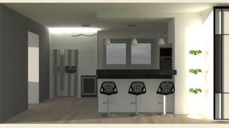 Vue 3d d'un projet de rénovation d'une cuisine