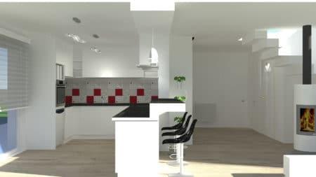 Simulation 3D d'un projet de rénovation d'une cuisine