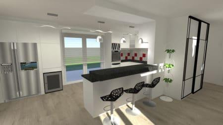 Perspective projet de rénovation de cuisine à La Baule