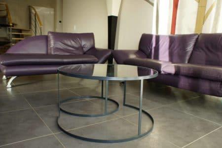 Tables basses métal et verre
