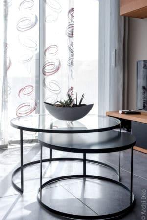 Tables basses sur-mesure métal et verre par Metal Factory
